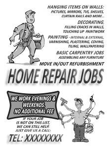 Home Repair Jobs - promotional leaflet