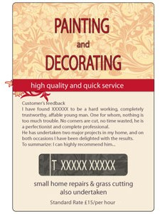 Local painter and decorator - promotional leaflet